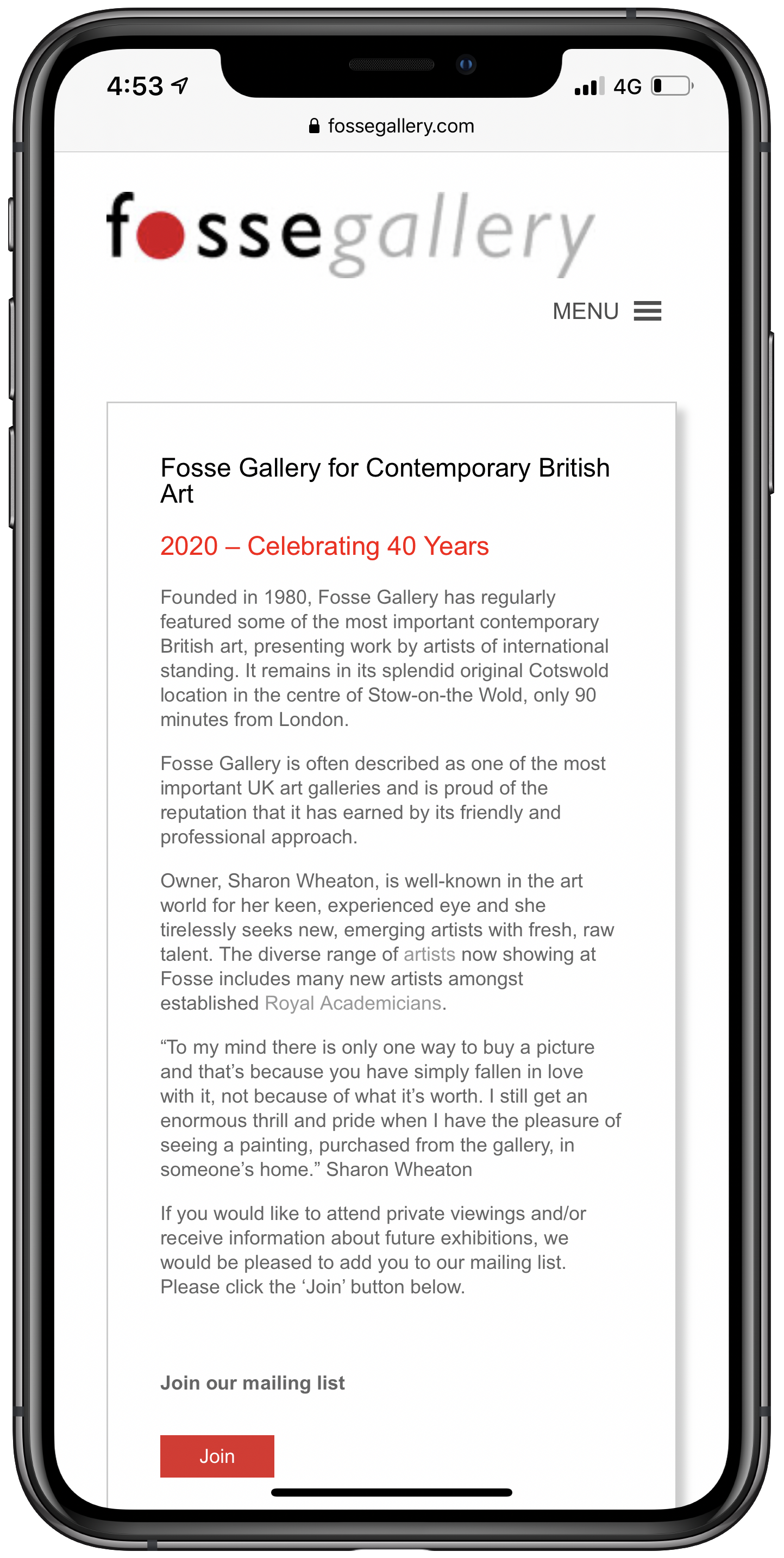 Fosse Gallery Mobile Screenshot