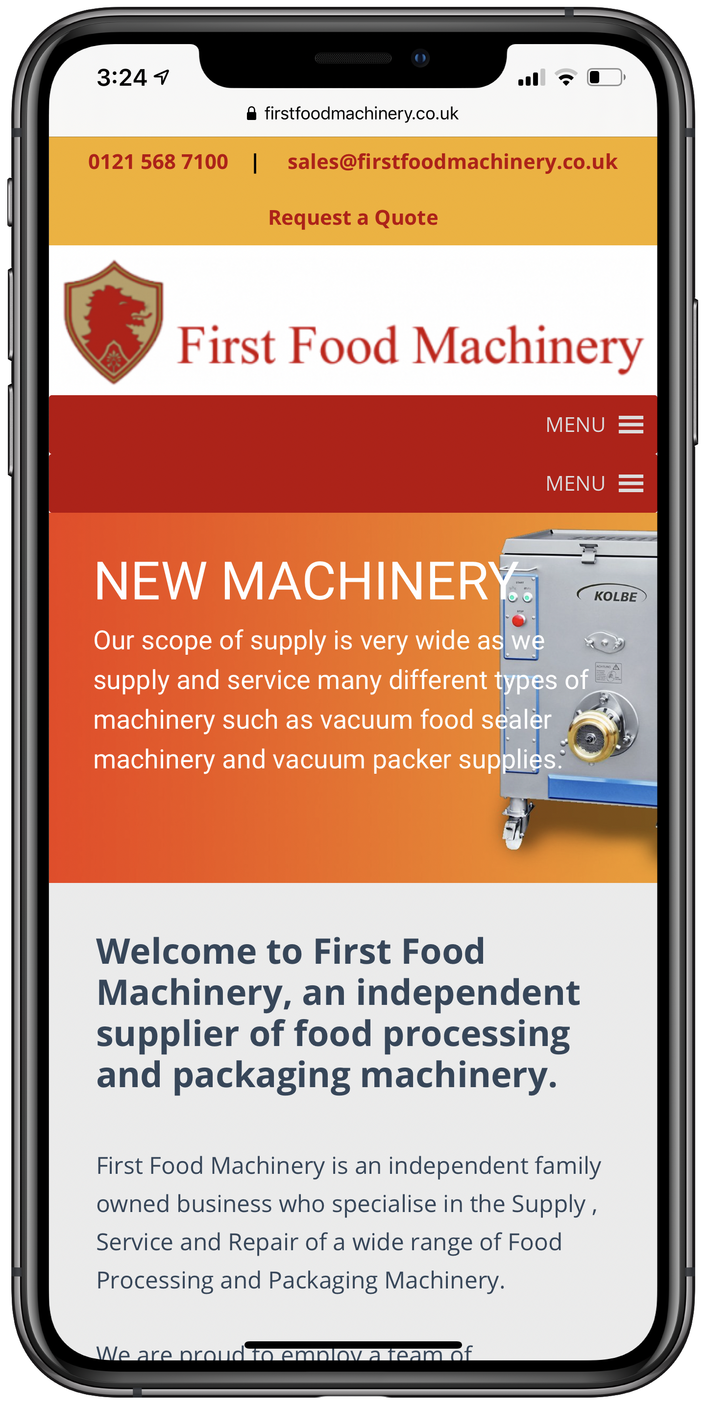 First Food Machinery Mobile Screenshot
