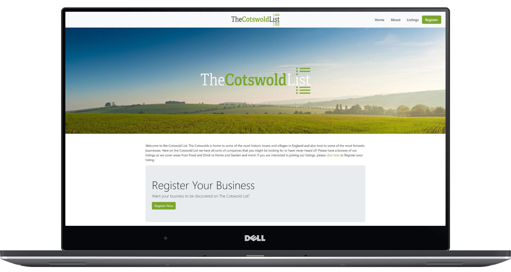 The Cotswold List Laptop Screenshot